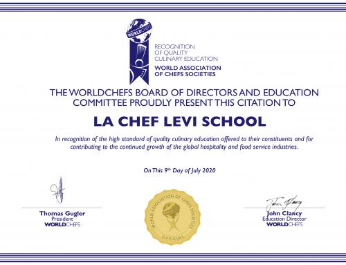Η Σχολή μαγειρικής La Chef Levi αναγνωρίζεται για την ποιότητά της απο τον παγκόσμιο οργανισμό των Chefs